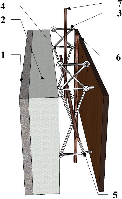 Схематичная конструкция модуля опалубки Техноблок. Несьемная опалубка.